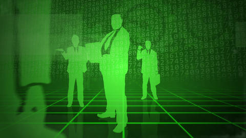 Green background with business people Animation
