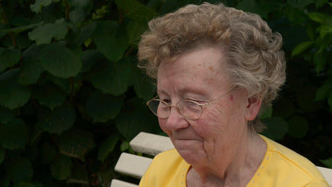 pensioner happy when somebody talk to her 11079 Stock Video Footage