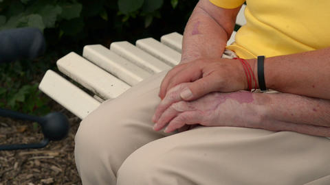 Man Hold And Strokes Pensioners Hands 11083 stock footage