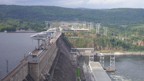 Krasnoyarsk hydroelectric power station dam 08 Stock Video Footage