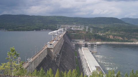 Krasnoyarsk hydroelectric power station dam 10 Stock Video Footage