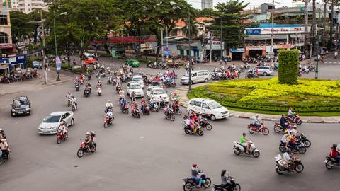 1080 - TRAFFIC IN VIETNAM - HO CHI MINH CITY Stock Video Footage