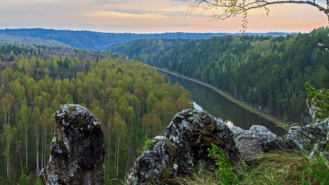 Misty Valley. The Ural Mountains, Russia TimeLapse stock footage