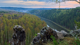 Misty Valley. The Ural Mountains, Russia TimeLapse Stock Video Footage
