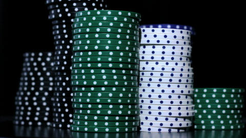 The difference color of casino chips Stock Video Footage