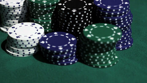 Stack of chips and two aces Stock Video Footage