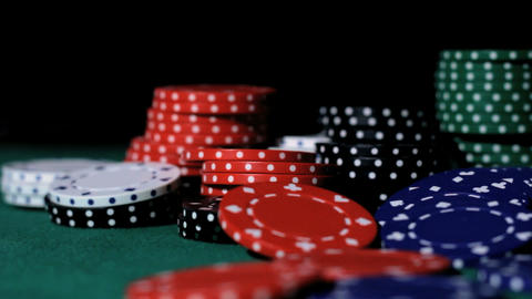 Poker. Chips falling Stock Video Footage