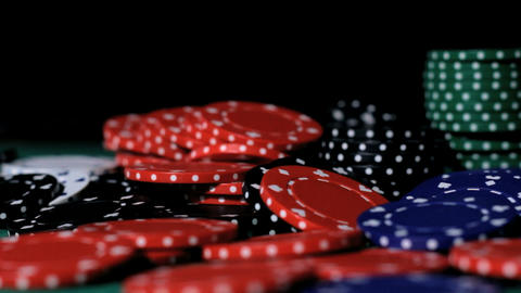 Poker. Chips falling Footage