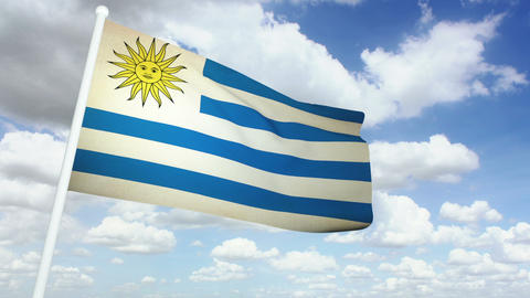 Flag Uruguay 02 Stock Video Footage