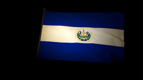 Flag Salvador 01 Stock Video Footage