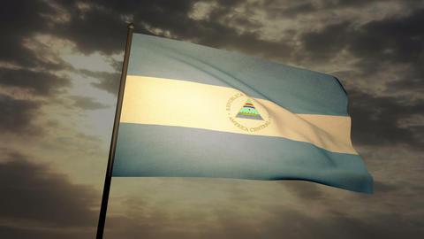Flag Nicaragua 03 Stock Video Footage