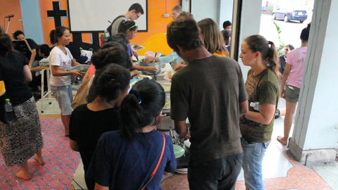 Young Adults Gather For Special Dinner In Bangkok Stock Video Footage