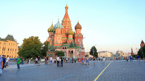 Movement of people near Cathedral of St. Vasily th Stock Video Footage