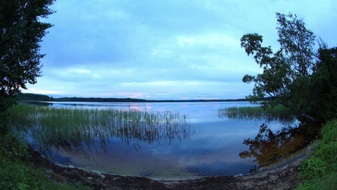 Sunset on the lake Somino, Valdaysky district, Nov Stock Video Footage