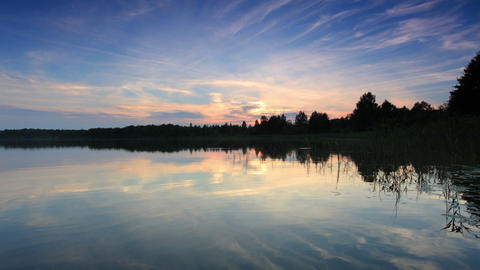 Sunset on the lake Moiseevskoe, Valdaysky district Footage