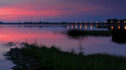 Sunset over the reservoir in Vyshny Volochyok, Vys Stock Video Footage