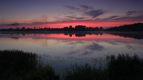 Sunrise over the reservoir in Vyshny Volochyok, Vy Footage