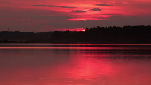 Sunset over the reservoir in Vyshny Volochyok, Vys Footage