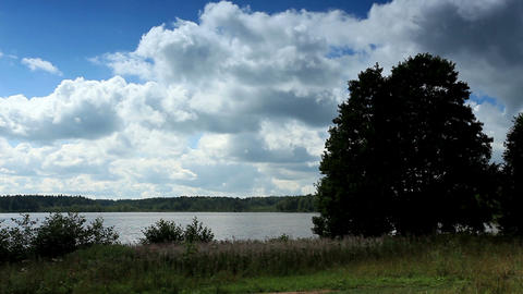 Movement of clouds over the lake Moiseevskoe, Vald Stock Video Footage