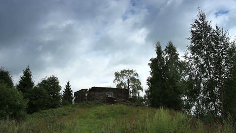 Movement of clouds over the ruins of the old Russi Stock Video Footage