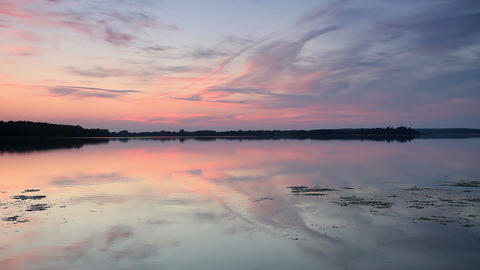 Sunset on the lake Mstino, Vyshnevolotsk district Stock Video Footage