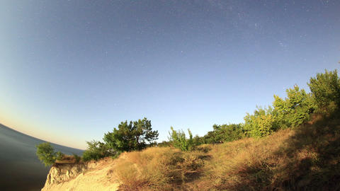 Starry sky over the reservoir in Kremenchuk. Mount Stock Video Footage