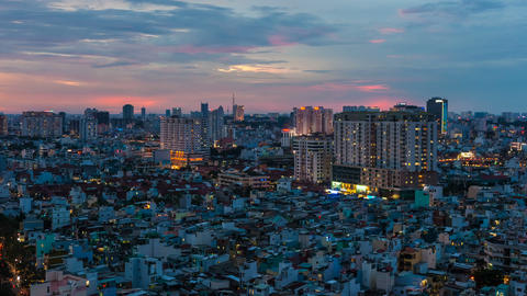 1080 - CITY SUNSET - ZOOM on HO CHI MINH CITY TIME Footage