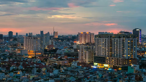 1080 - CITY SUNSET - HO CHI MINH CITY TIME Footage