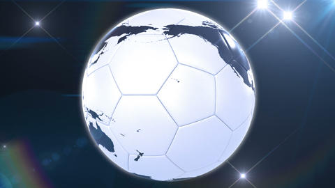 Soccer ball like Earth rotating in flashes. Looped Animation