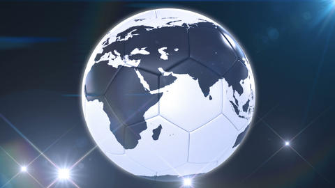 Soccer ball like Earth rotating in flashes. Looped Stock Video Footage