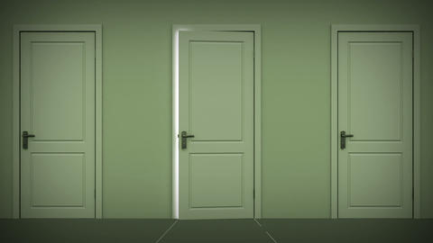 Doors opening and closing looped animation. Alpha Stock Video Footage