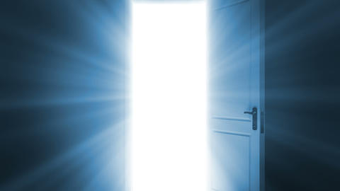 Door opening to a bright light. Alpha Channel is i Stock Video Footage