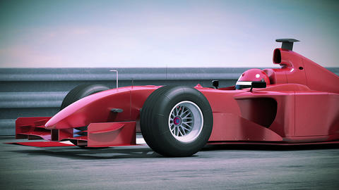 F1 Red Bolide In Slow Motion. Beautiful 3d Animati stock footage