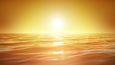 Sea and sun. Sunset. Orange sky. Looped animation. Stock Video Footage