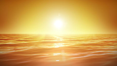 Sea and sun. Sunset. Orange sky. Looped animation. Animation