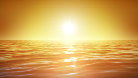 Sea and sun. Sunset. Orange sky. Looped animation. Stock Video Footage