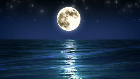Sea and moon. Night sky. Looped animation. HD 1080 Stock Video Footage