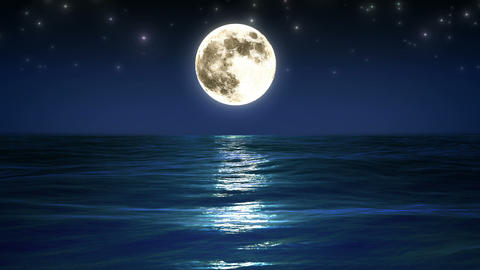 Sea and moon. Night sky. Looped animation. HD 1080 Animation