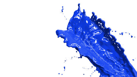 CG animation of colored paint water splashes in sl Animation