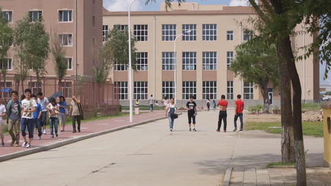 Chinese students walking 02 Stock Video Footage