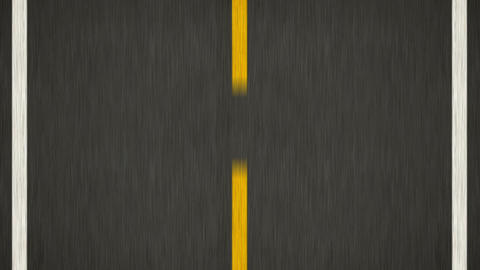 Yellow Line On New Asphalt Road. Top view Animation