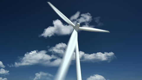 Wind Turbine. Close Up Animation