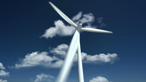 Wind Turbine. Close Up Animation