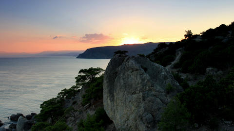 Timelapse sunset in the mountains. Noviy Svet, Cri Stock Video Footage
