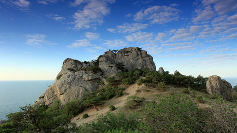 Cloudy sky over the mountains and the sea. Noviy S Stock Video Footage