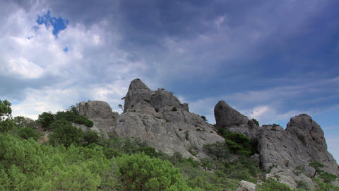 Cloudy sky over the mountains Karaul Oba. Noviy Sv Stock Video Footage