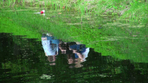 Girls on the banks of the river Stock Video Footage