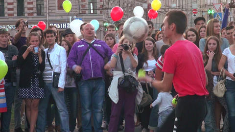Juggler with the ball Stock Video Footage