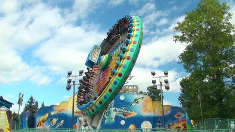 Carousel Plate Extreme Attraction stock footage