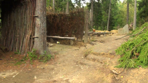Military camp in the woods Footage